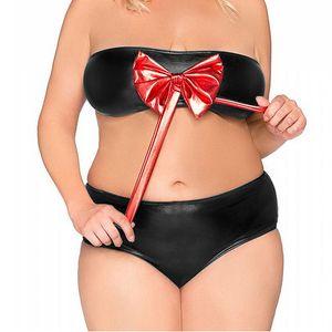 Plus Size Women Faux Leather Shiny Lingerie Set Big Red Bowknot Strapless Bra With Low Waist Panties Sexy Summber Bikini Set