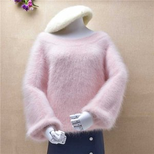 female women sweet pink hairy fuzzy mink cashmere slash neck shoulder off lazy oaf angora hair thick jumper sweater pull