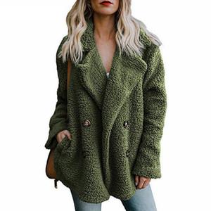 Oyuncak Coat Kadın Kış Palto Kalın Sahte Kürk Ceket Kadın Cepler Artı Boyutu ile Yaka Coats Uzun Kollu Kabarık rahat sıcak