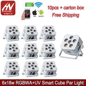 10pcs Rechargable Stage Light 6 * 18W 6in1 RGBAW UV Fonctionne avec Pile LED Lumière avec Télécommande LED Par64 Peut Uplighting
