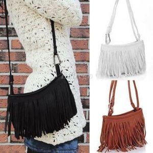 Vendita Lebolong calda !! Spalla delle donne Tassle frangia della nappa pelle scamosciata del Faux Messenger Crossbody borsa borsa Nero Marrone Bianco