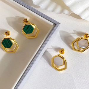 Designer de Moda Copper Jewelry Pedra Natural Festa Brinco