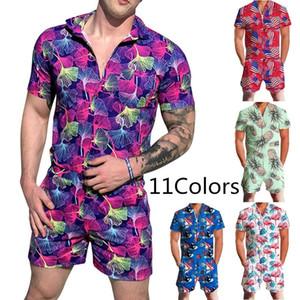 2020 New Summer Hommes Plage Floral Print Romper Streetwear Hommes Loisirs Zipper Jumpsuit Shorts Set pour la plage vacances