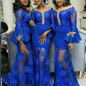 Desgaste Royal Blue Vestidos dama de honra do Sul Africano meninas Vintage Long Sleeve Alças apliques Ruffles longo do convidado do casamento Plus Size