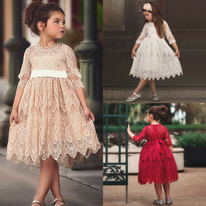 Focusnorm 2-7 Years Flower Girl Dress Kids Pageant Communion Wedding Formal Party Tutu Gown Princess