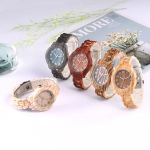 Regalos de Navidad día de Año Nuevo de bambú de madera del diseño del reloj de lujo de simulación de madera del reloj ocasional del reloj de San Valentín