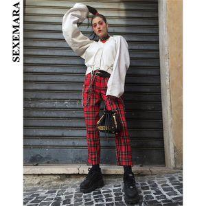BOOFEENAA Cotton Red Plaid Wide Leg Pants Women 2019 Harajuku Butt Zipper Loose Trousers Ladies Capris Vintage Streetwear C71AC7 T200603
