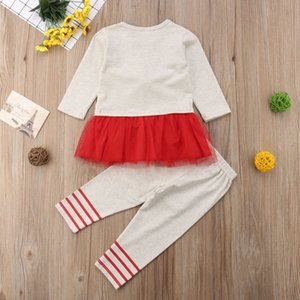 2018 Christmas Kid Baby Girl Lace Tutu Dress Mesh Top+Pants Outfit Clothes Autumn Xmas Set Costume 0-5Y