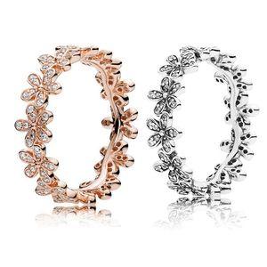 Auténtica joyería de anillo de plata de ley 925 para Pandora Luxury Rose Gold Daisy Flower Ring Gift Gift withing Dominy Set