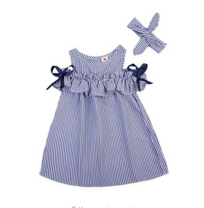 Nuovo vestito da estate Toddler Bambini Neonate Lovely Birthday Clothes Blu Striped Off-spalla Ruffles Party Gown Abiti GB266