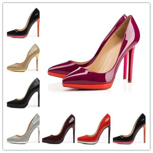 2020 Designer luxury high heels 12cm womens party wedding triple black nude red Pointed Toes Pumps bottoms Dress shoes With Box