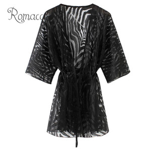 Romacci Semi Sheer túnicas para playa Nuevas mujeres Kimono Cardigan Sólido Frente Abierto Boho Ropa de abrigo holgada Bikini de playa Cubrirse Negro