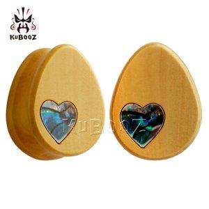 KUBOOZ 2PCS Wood Gauges Ear Tunnels Plugs Piercing Body Jewelry Teardrop Stretcher Earring Expander 8mm to 25mm Fashion Gift