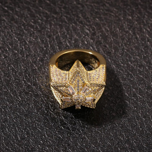 Beş köşeli yıldız Zirkon Yüzük Tasarımı Çiçek Star Ring Euramerican Hip Hop Takı Yeni