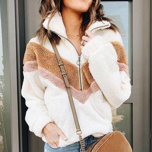 Повседневный ватки фуфайки женщин заплатки Zip искусственного меха Крупногабаритные пуловеры Размер Winter Пушистый Hoodie Женский Плюс