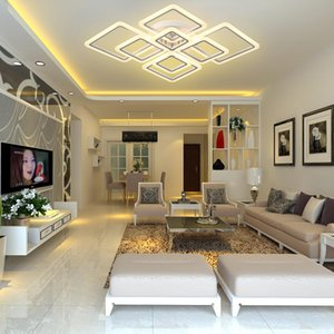 Modern APP And Remote Control Ceiling Lights Changeable Colors Square Shape Chandeliers For Bedroom And Living Room