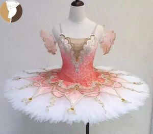 FLTOTURE Light Pink Ballet Pancake Tutu для девочек Балетки Вариации производительности костюмы Балерина Пахита Пачка репетиции