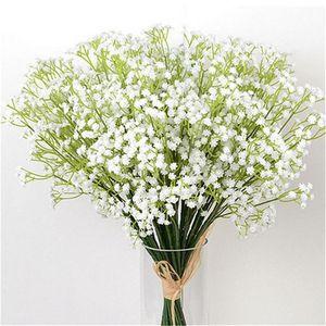 20 Stück Weiß Baby-Atem-Blumen-künstliche gefälschte Gypsophila Diy Blumensträuße Arrangement Hochzeit Home Decor Blume