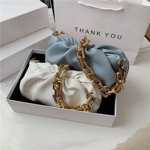Мода плеча подмышек сумка Женский 2020 Популярные Новые Summer Fold Wide Gold Chain Clouds Белый