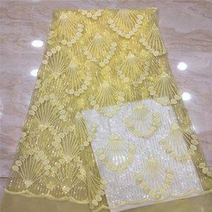 Madison African Lace Fabric 2019 Tejidos de encaje nigerianos de alta calidad con bordado de lentejuelas Tela de encaje de tul francés para bodas