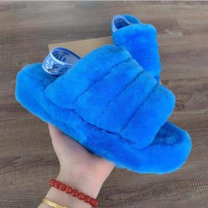 Frauen-Winter-Hausschuhe Australien flauschigen Fell Sandalen Slides Schnee-Aufladungen realer Pelz Wools Schuhe Indoor warmer Schnee Pelzhausschuhe