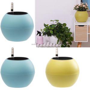 "Medidor de 3pcs 5"" Self Flower Watering plantador Container Pots W / Água Nível"