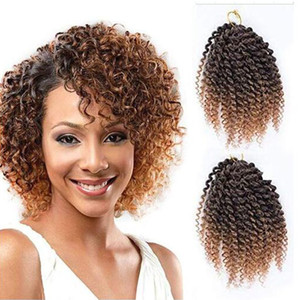 "Pack of 3 Marlybob Crochet Braids Hair Ombre Afro Kinky Curly Braiding Hair Extensions for Girl Women(8"", T1b 27#)"
