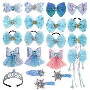 12 disegni le clip di capelli delle ragazze corda arco di Snow Queen Paillettes Capelli regalo Barrettes Hairbow tornante fascia del bambino Accessori