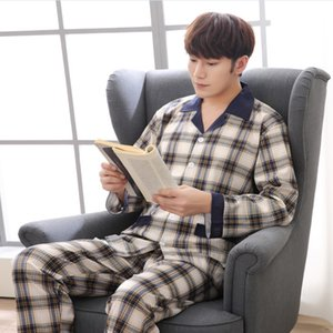 Pajamas men's long-sleeved pure cotton men's cotton thin green middle-aged set home clothes setautumn and winter home clothes set
