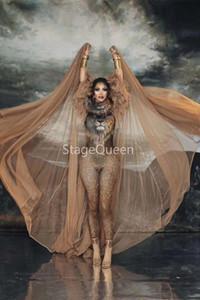 2020 Style Design Mode Cosplay Costume Bodysuit Tigre Jumpsuit Big Cape Set Chanteur Sexy Outfit scène de danse Modèle Prom Voir DS DJ Outfit