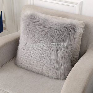 Faux Fur Almofada Fronha Fluffy Plush Throw Pillow capa para sofá-cama Car Home Decor 45 * 45 centímetros