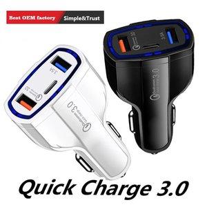 Neue Ankunft Qualcomm QC3.0 Lade Fast Car Charger 7A 3 Ports Zwei-Auto-Handy-Ladegerät mit TYPE-C Auto-Ladegerät