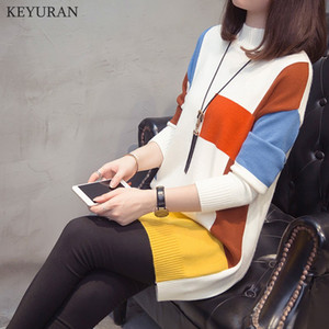 Women Autumn Winter New Fashion Middle Long Plus Size 4XL Knitwear Sweater Female Patchwork O Neck Pullover Knitted Tops L3736