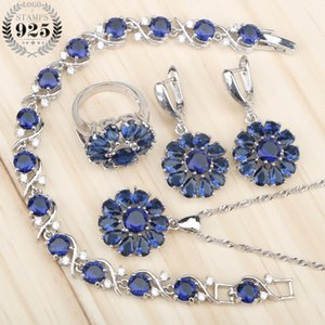 New Blue Zircon Silver 925 Bridal Jewelry Sets Women Earrings Rings With Stones Pendant Necklace Bracelets Jewelery Gift Box