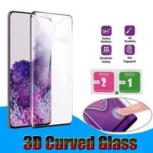 حالة صديقة 3D منحني الزجاج المقسى لسامسونج غالاكسي S8 S9 S10 S20 Plus Note8 Note9 Note10 Pro Note20 Ultra P30 Mate40 Pro