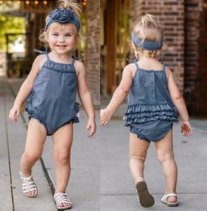 2019 лето новых модулей ребенок Комбинезон дети дизайнер одежда девочки кружево Crawler РЕБЁНОК одежда Sling Жгутого ребенок мальчик одежда BY1007