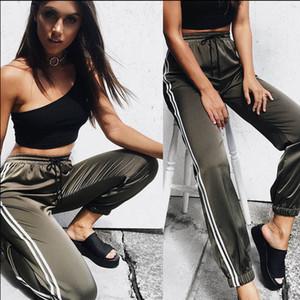 Femmes Mode Femmes Casual Active Pants 3 Solide Style rayé mince taille haute taille élastique crayon pantalon Taille S-XL