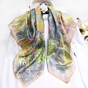 2019 New Luxury Scarves 100% Real Silk Square Scarfs and Shawls Wraps Hijabs Headband Head scarves Floral Print Brand Designer Scarf Female