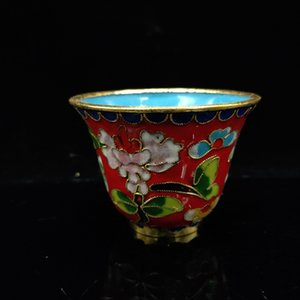 Chinese Antique Filigree enamel Flowers Pattern Cup JTL068