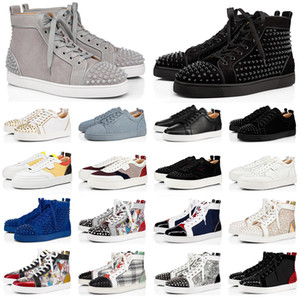 2020 red bottoms men women fashion shoes spikes high top sneakers black white glitter leather suede mens flats casual shoe jogging walking