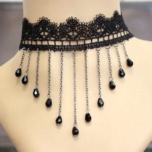 Gioielli collo del nuovo merletto Collane sexy gotica girocolli di cristallo nero Girocollo Collana Vintage vittoriano Donne Chocker Steampunk