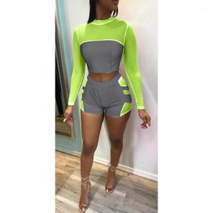 Neck Long Sleeve Short Pants Night Club Style Fashion Clothing Womens Summer Reflective Sexy Sports Suits Crew