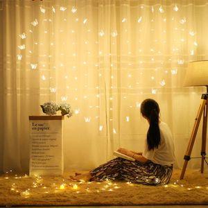 2x1.5m Heart LED Butterfly Curtain Light Icicle Curtain Light String 34 Butterfly 128 LED Holiday Christmas Fairy Wedding Decor Y200603