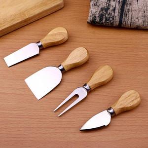 치즈 도구 세트 4PCS / SET 오크 핸들 베이킹 치즈 커팅 보드를 들어 버터 피자 슬라이서 커터 WX9-1776을 설정 나이프 포크 삽 키트 갈판