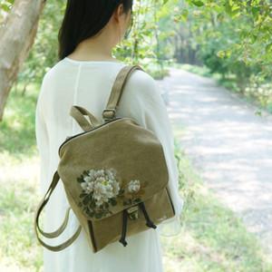 중국 스타일의 복고풍 손으로 그린 가방 여성 2020 봄 새로운 캔버스 가방 어깨 학생 배낭