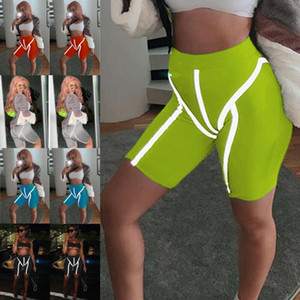 Women Reflective Stripe Sim Tight Shorts Gym Cycling Biker Sport Running Tight Shorts