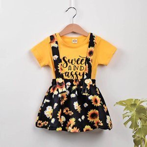 Newborn Infant Sunflowers Suspender Skirt Set Baby Girl Summer Letter Romper short sleeve clothes suit infant baby sling clothes