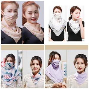 Женский шарф маска для лица цветочные печатные шифоновые двухслойные солнцезащитные маски для рта многофункциональный шейный платок для наружного велосипедного снаряжения 4 1yr E1