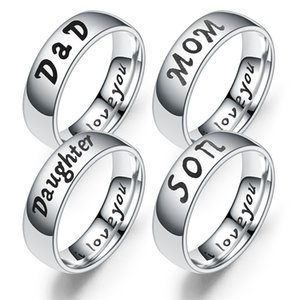 Family Member Rings Fashion Popular Hot Sale I Love You Mom Daughter Son The Gift for Mother Days Stainless Steel Women Ring
