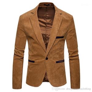 سترة الموضة زر واحد لون بدلات لون صلب سترة ربيع ذكوري ملابس V الرقبة الطويلة كم Mens Corduroy